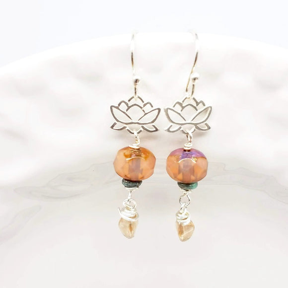 Sterling Silver Lotus and Czech Beaded Earrings - Impromptu Jewelry