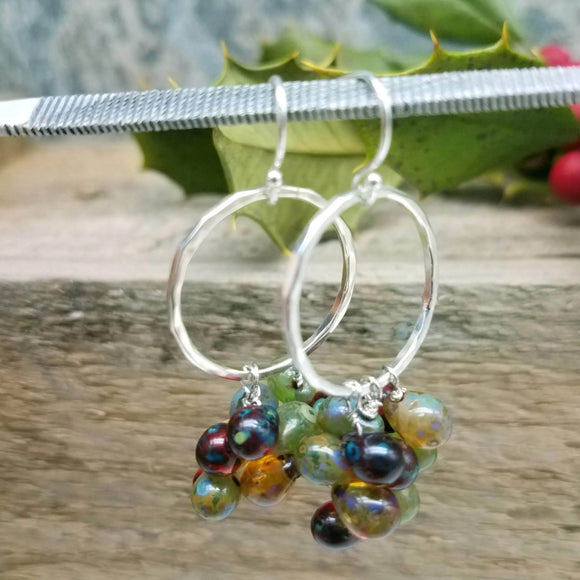 Sterling silver hoop and glass bead handmade earrings by impromptu jewelry