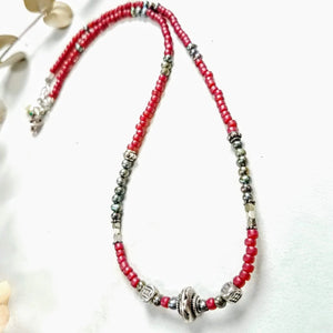 Thai Silver and Ruby Red Bead Choker - Impromptu Jewelry