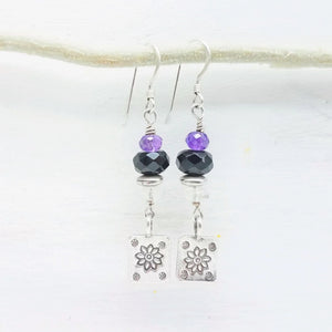 Thai Silver flower charm and black onyx dangle earrings handmade by impromptu jewelry