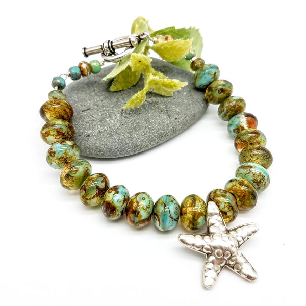 Silver Starfish and Czech Beaded Bracelet - Impromptu Jewelry