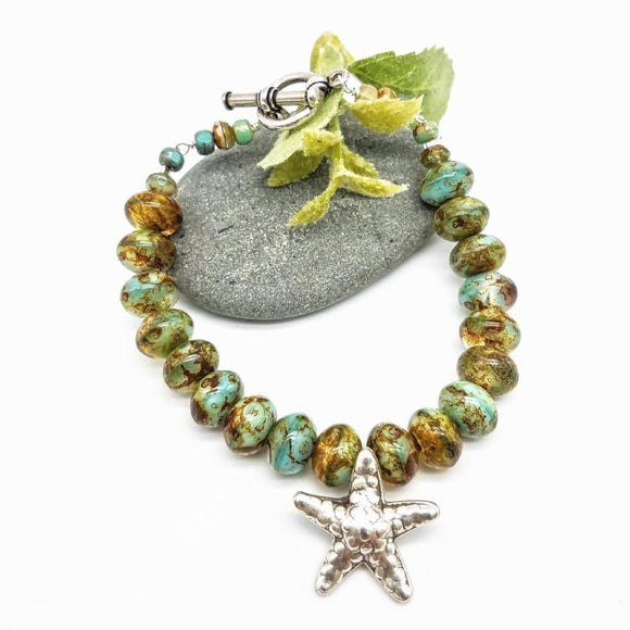 Starfish bracelet with Thai Silver Charm and Czech Beads Handmade - Impromptu Jewelry