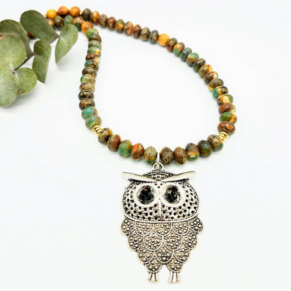 Tibetian silver owl pendant and czech bead handmade necklace by impromptu jewelry