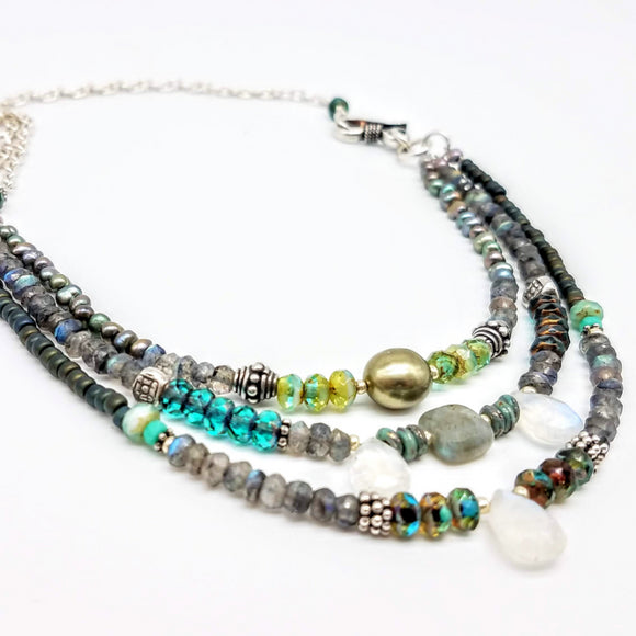 Triple strand beaded necklace with Czech beads, gemstones and sterling silver handmade by Impromptu jewelry (3)