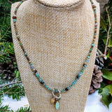 Turquoise Aged Czech Beaded Necklace handmade - Impromptu Jewelry