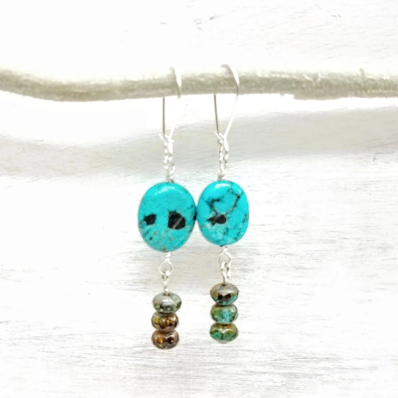 Turquoise howlite and glass bead dangle earrings handmade by impromptu jewelry
