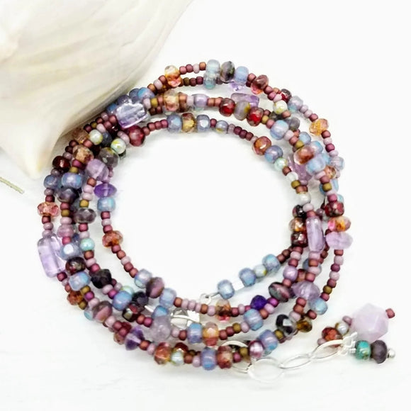 Wrap beaded bracelet converts to necklace in purples handmade by impromptu jewelry