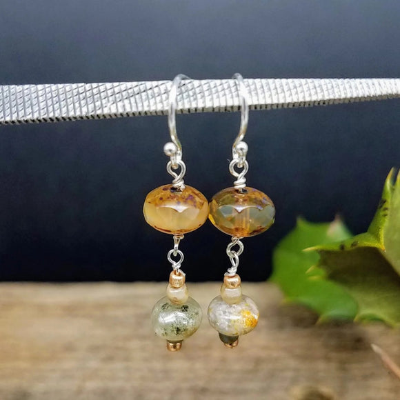 glass drop earrings  handmade by impromptu jewelry