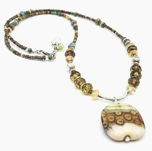 Handcrafted Art-glass Pendant and Gemstone Necklace - Impromptu Jewelry