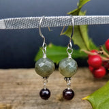 labradorite and garnet earrings handmade by impromptu jewelry