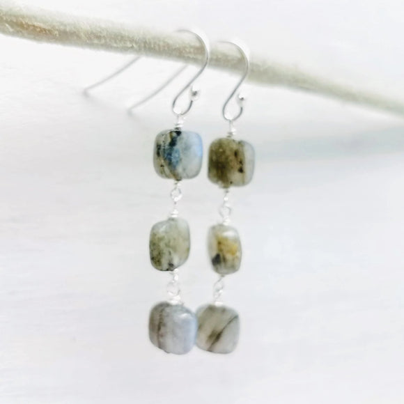 long dangle labradorite square gemstone earrings handmade by impromptu jewelry
