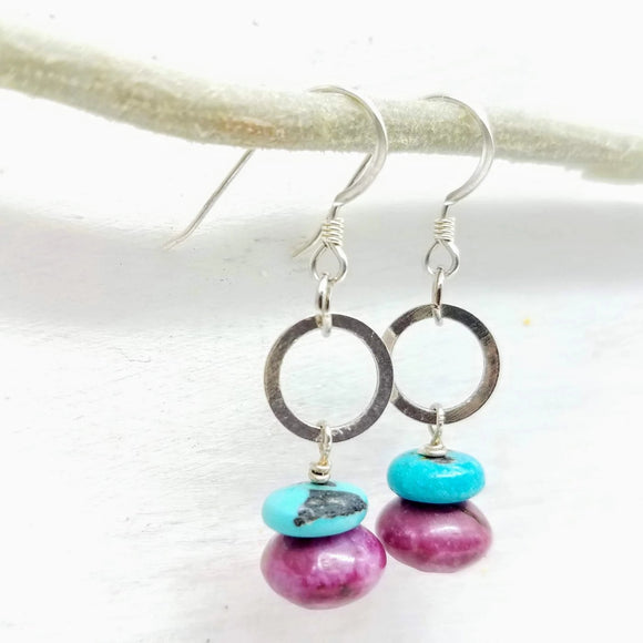pink and turquoise gemstone bead earrings handmade by impromptu jewelry