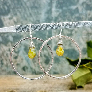 sterling silver hoop and glass bead earrings by impromptu jewelry