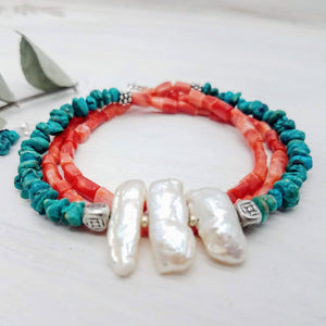 turquoise pearl and coral wrap bracelet handmade by impromptu jewelry