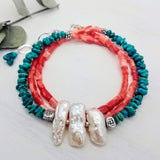 Turquoise and Coral Beaded Wrap Bracelet