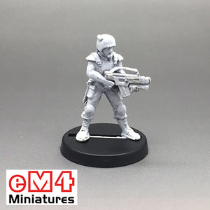 Female Trooper with a Military Assault Rifle & Tech Belt