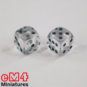 12mm Gem Dice - Clear x 10