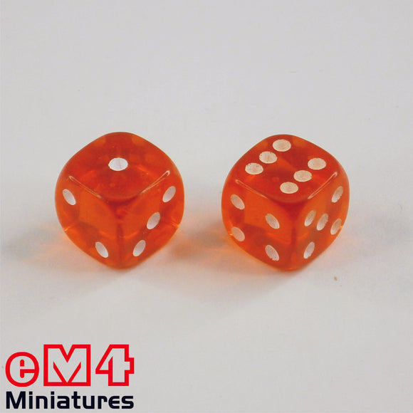 12mm Gem Dice - Orange x 10