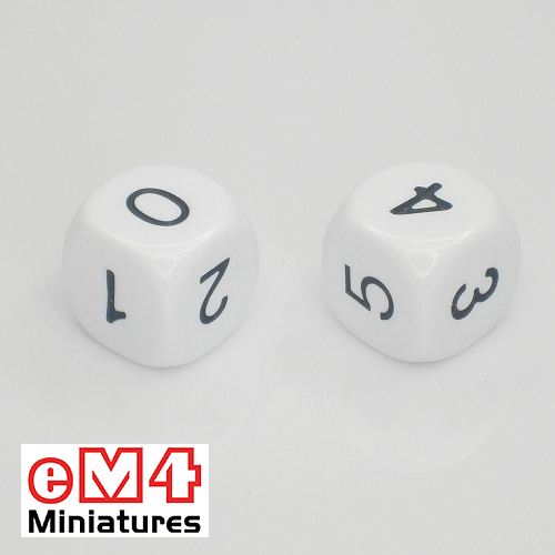 16mm white opaque dice marked 0.1.2.3.4.5 bag of 5