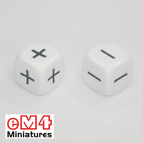 16mm white opaque dice marked + - + - + - bag of 5