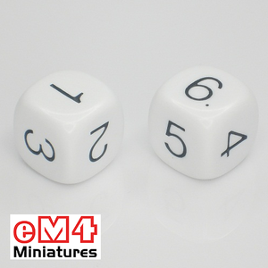 18mm white opaque dice marked 1.2.3.4.5.6 bag of 5