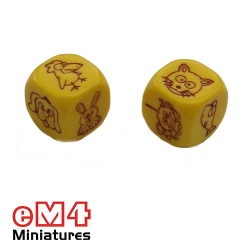 Pet Dice 18mm -yellow