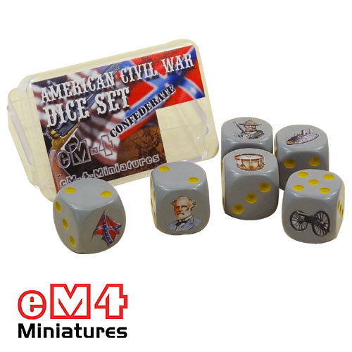 American Civil war Confederate dice x 6 in plastic box