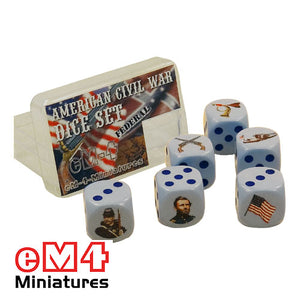 American Civil War Union Dice x 6 in plastic box