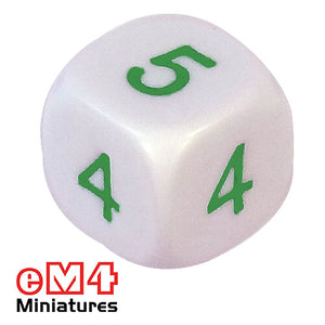 Average dice 16mm green numbers
