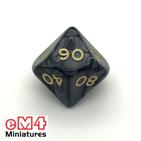Pearl Black D10 (00-90) Poly Dice