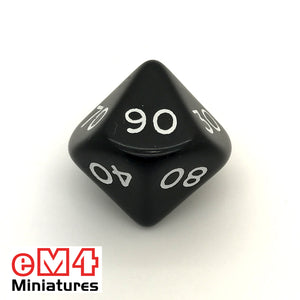 Opaque Black D10 Percentile Poly Dice
