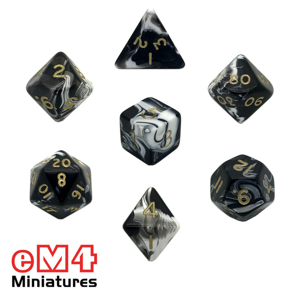 Marble Black 7 Dice Poly Set