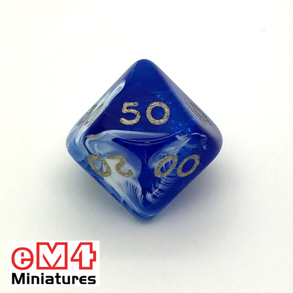 Marble Blue D10 (00-90) Poly Dice