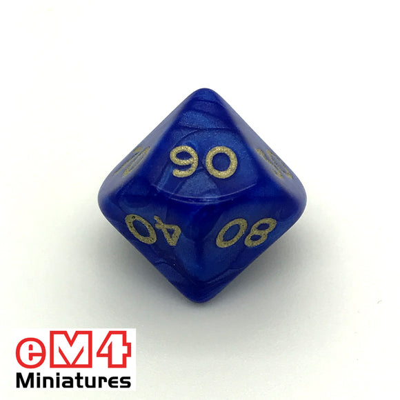 Pearl Blue D10 (00-90) Poly Dice