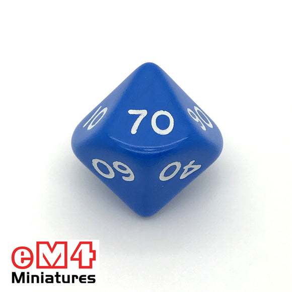 Opaque Blue D10 (00-90) Poly Dice
