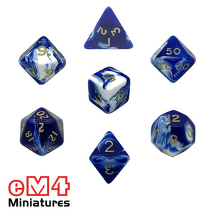 Marble Blue 7 Dice Poly Set