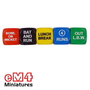 Cricket dice set of 5 x 18mm in plastic box with rules