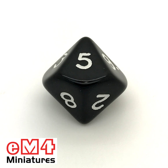 Opaque Black D10 (0-9) Poly Dice