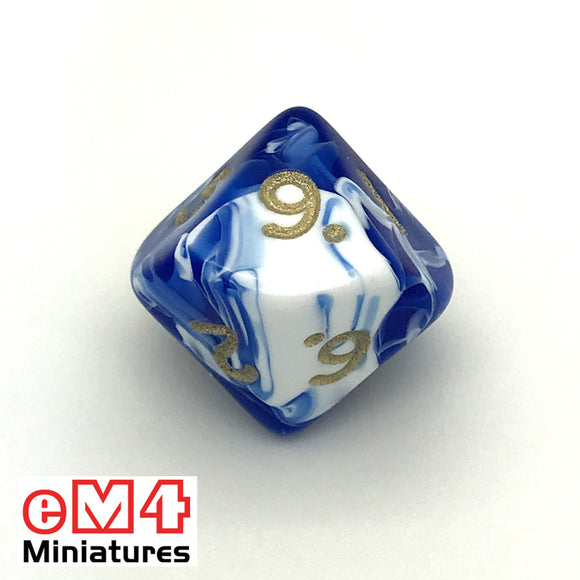 Marble Blue D10 (0-9) Poly Dice