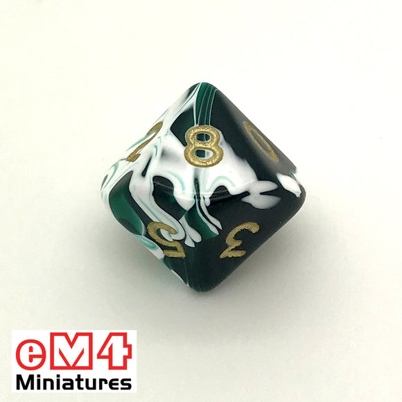 Marble green D10 (0-9) Poly Dice