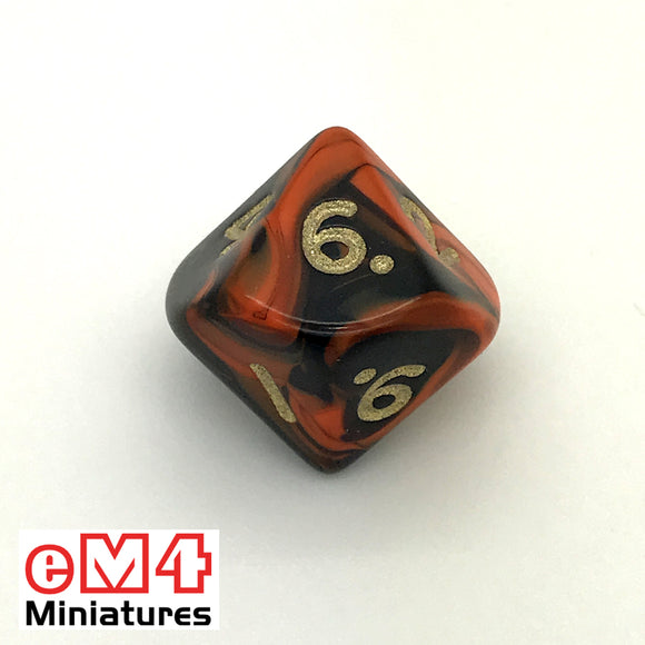 Oblivion Orange D10 (0-9) Poly Dice