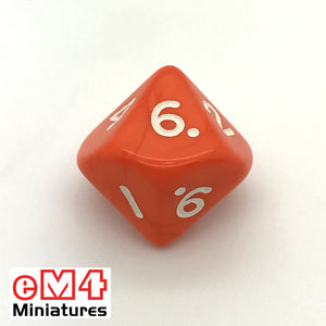 Opaque Orange D10 (0-9) Poly Dice