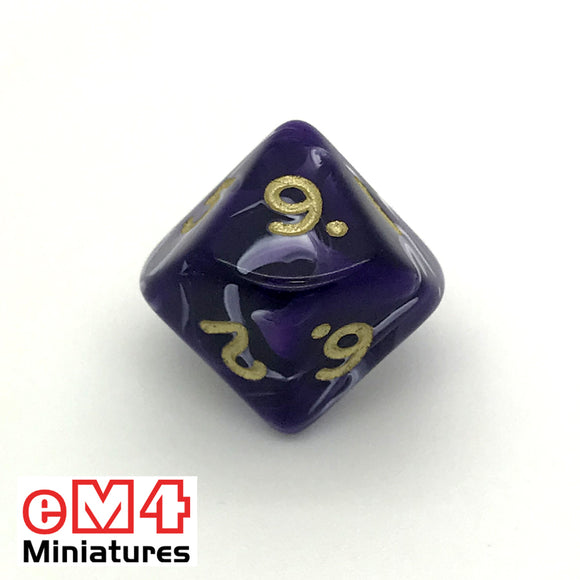 Marble Purple D10 (0-9) Poly Dice