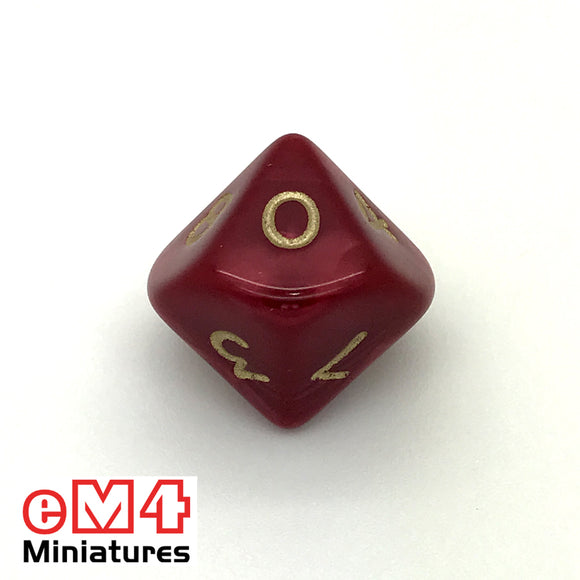 Pearl Red D10 (0-9) Poly Dice