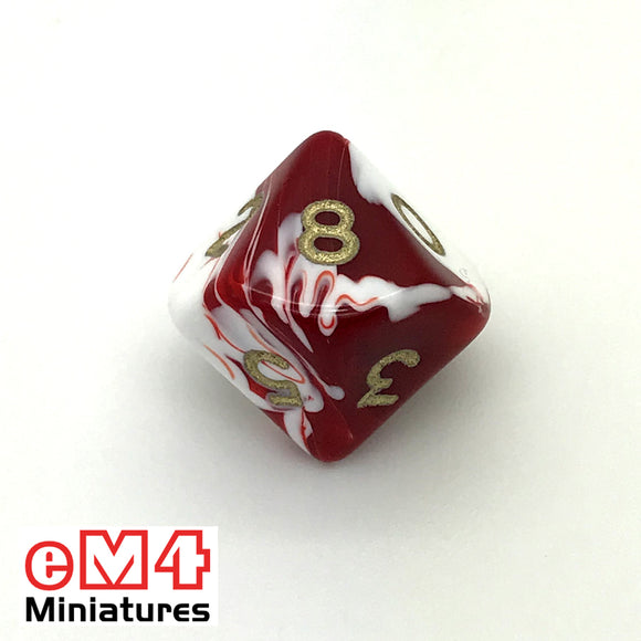 Marble Red D10 (0-9) Poly Dice