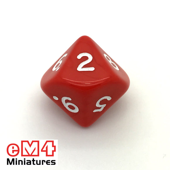 Opaque Red D10 (0-9) Poly Dice