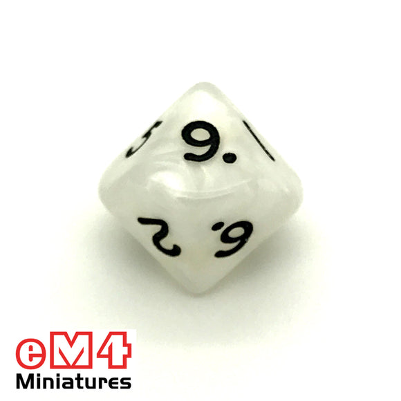 Pearl White D10 (0-9) Poly Dice