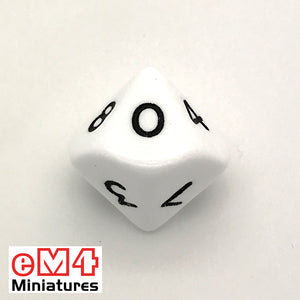 Opaque White D10 (0-9) Poly Dice