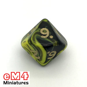 Oblivion Yellow D10 (0-9) Poly Dice