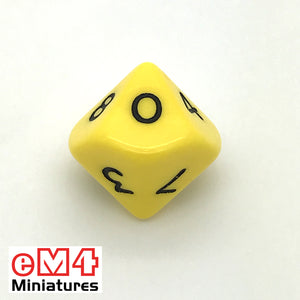 Opaque Yellow D10 (0-9) Poly Dice